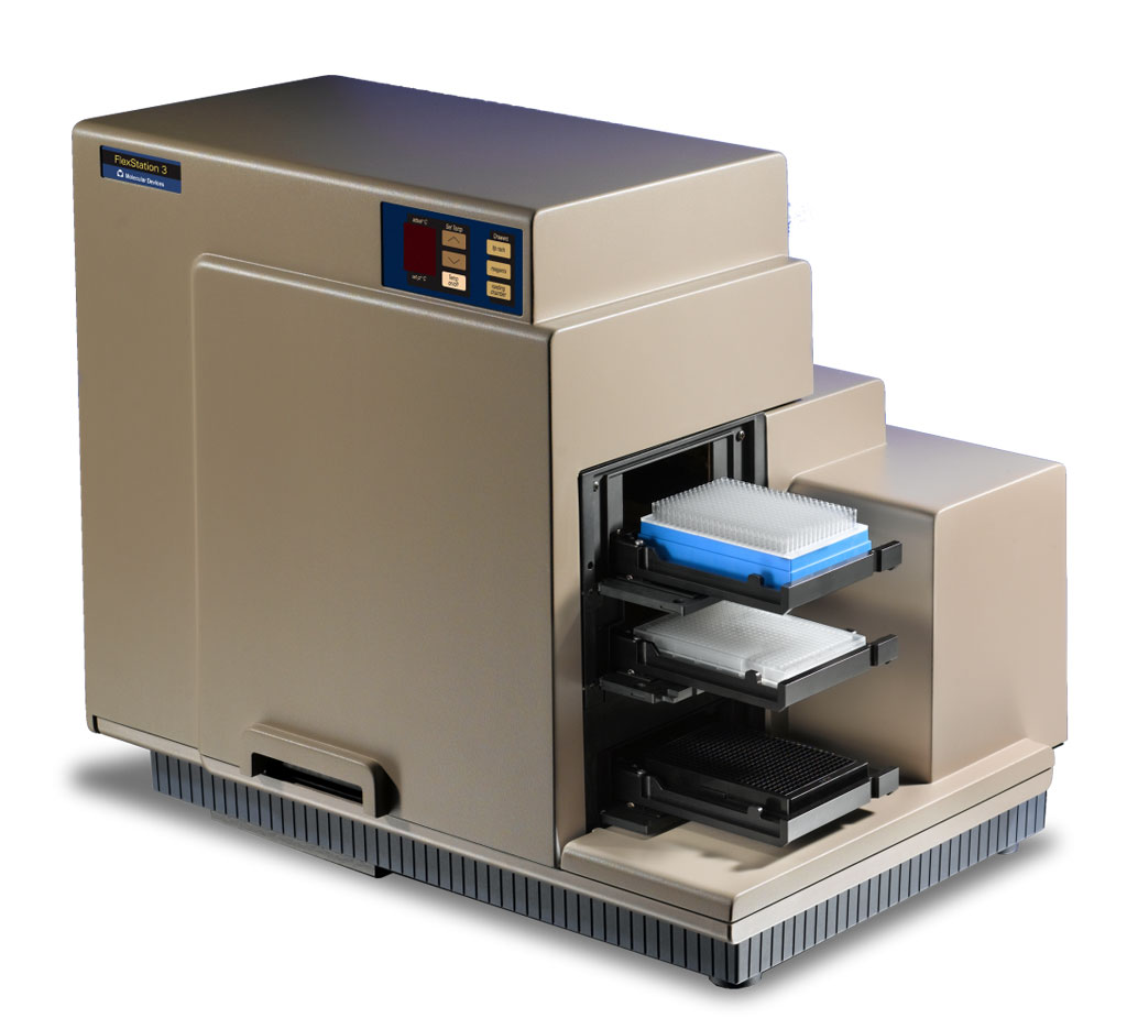 Image: FlexStation 3 Microplate Reader measures absorbance, fluorescence intensity, fluorescence polarization, luminescence, and time-resolved fluorescence (Photo courtesy of Molecular Devices).