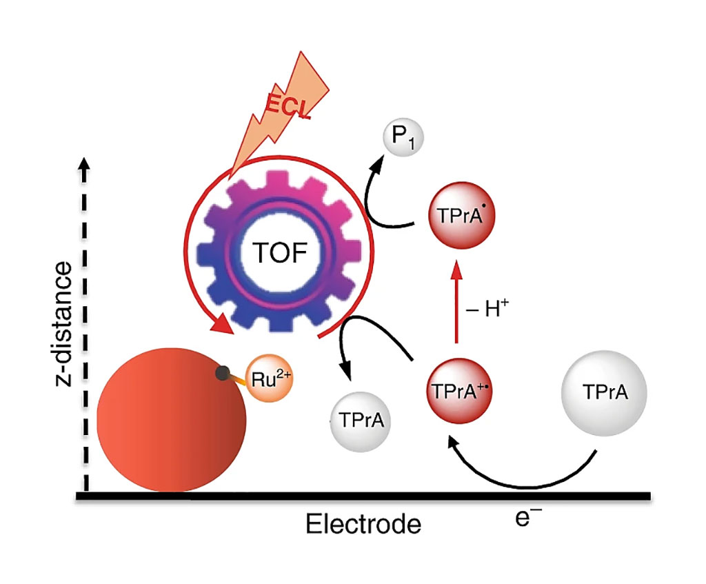 Image: Schematic representation of the remote electrochemiluminescence (ECL) mechanism (Photo courtesy of University of Bologna).