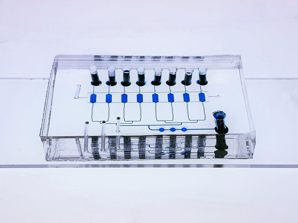 Image: The multi-layer EV-CLUE chip device. The microreactors and connecting channels are visualized by filling with blue food dye. The bottom glass slide is patterned with nanoparticle structures and coated with antibody to capture extracellular vesicles (Photo courtesy of Dr. Yong Zeng)