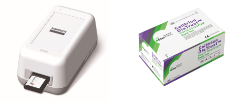 SAMPINUTE™ COVID-19 Antigen MIA (left) and DiaTrust™ COVID-19 IgG/IgM Rapid Test (Photo courtesy of Celltrion)