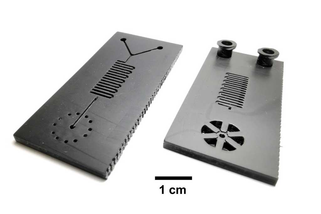 Image: A microfluidic cartridge for a 30-minute COVID-19 test (Photo courtesy of Bill King)