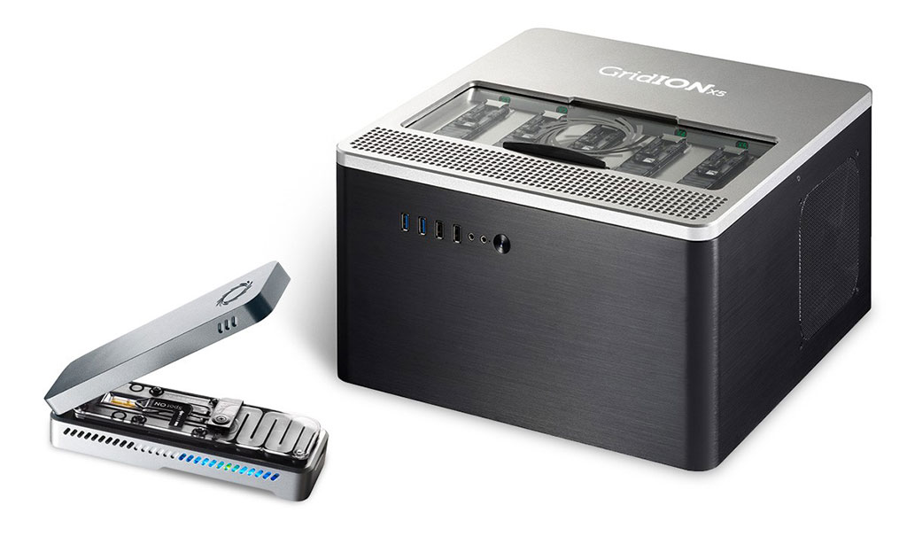 Image: The portable MinION sequencing platform runs one flow cell and desktop GridION can run up to five flow cells at any time (Photo courtesy of Oxford Nanopore).