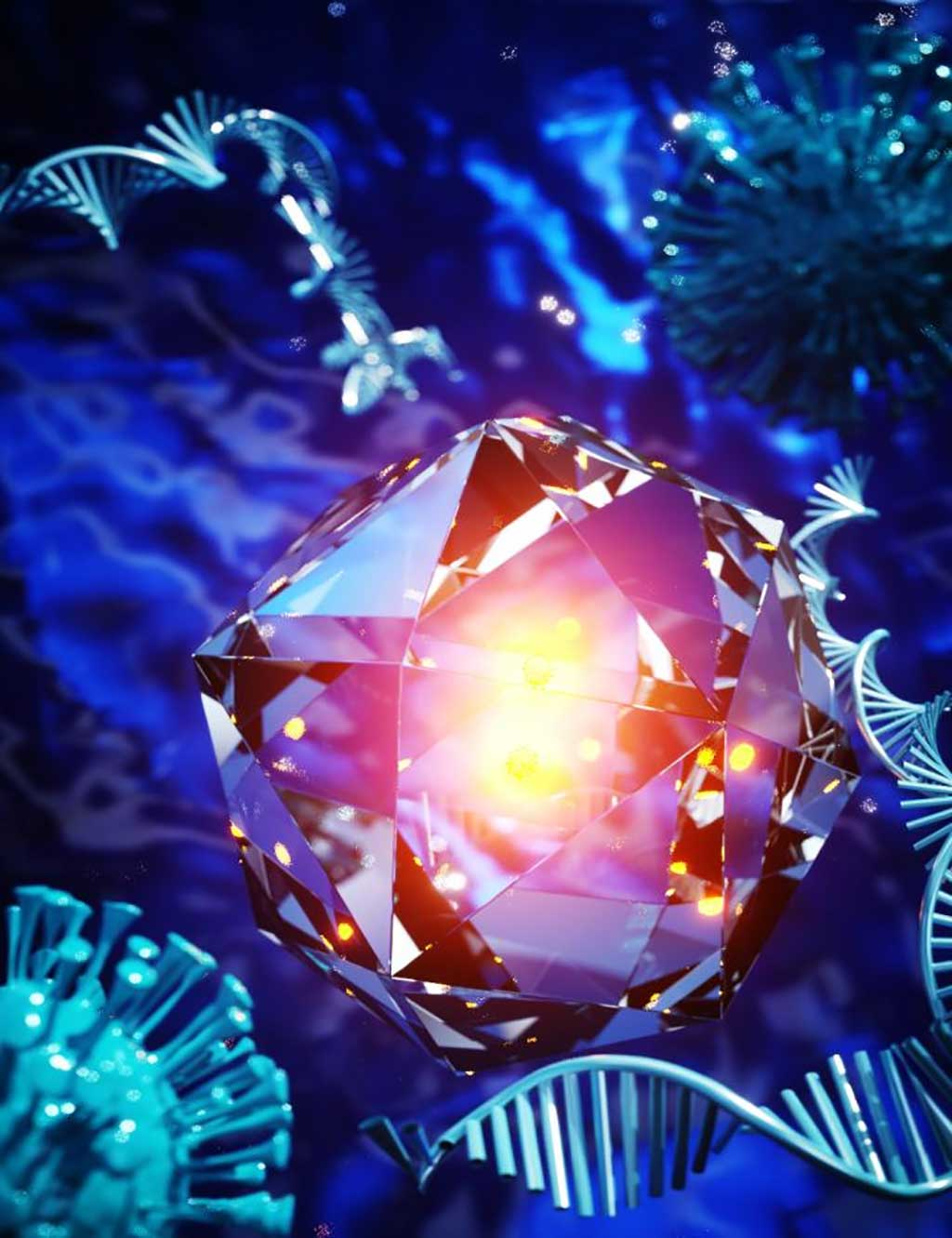 Image: An artist`s conception of nanodiamonds used for in vitro diagnostics (Photo courtesy of Ella Maru Studio, University College London)