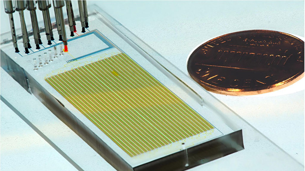 Image: A MITOMI microfluidic device (Photo courtesy of Sebastian Maerkl, 2021 EPFL)