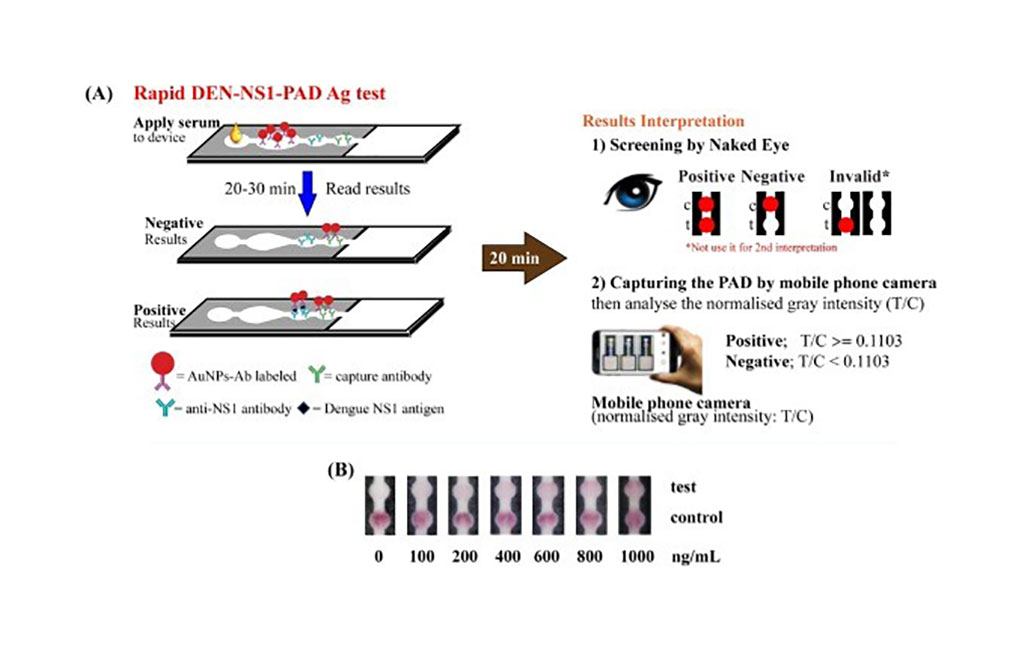 Schematic representation of the procedure for dengue NS1 detection by using DEN-NS1-PAD (Photo courtesy of King Mongkut's University of Technology Thonburi)