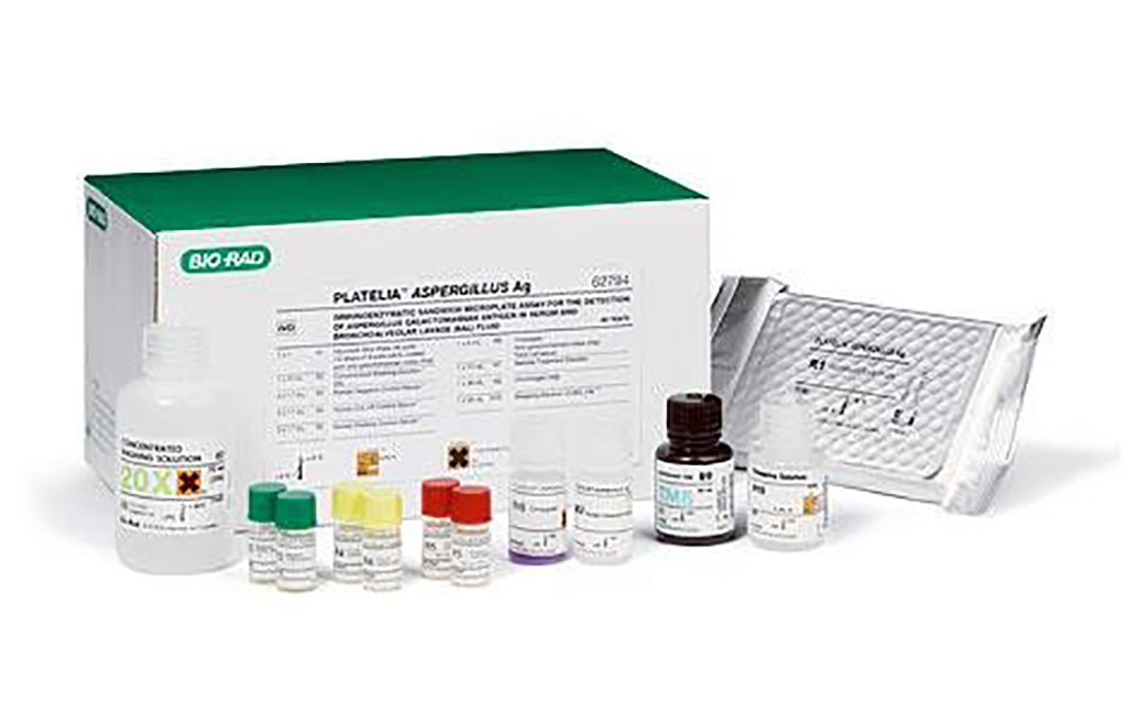 Image:   Platelia Aspergillus Ag: an enzyme immunoassays for the detection of Aspergillus galactomannan antigen and for the detection of anti-Aspergillus IgG antibodies in serum or plasma (Photo courtesy of Bio-Rad)