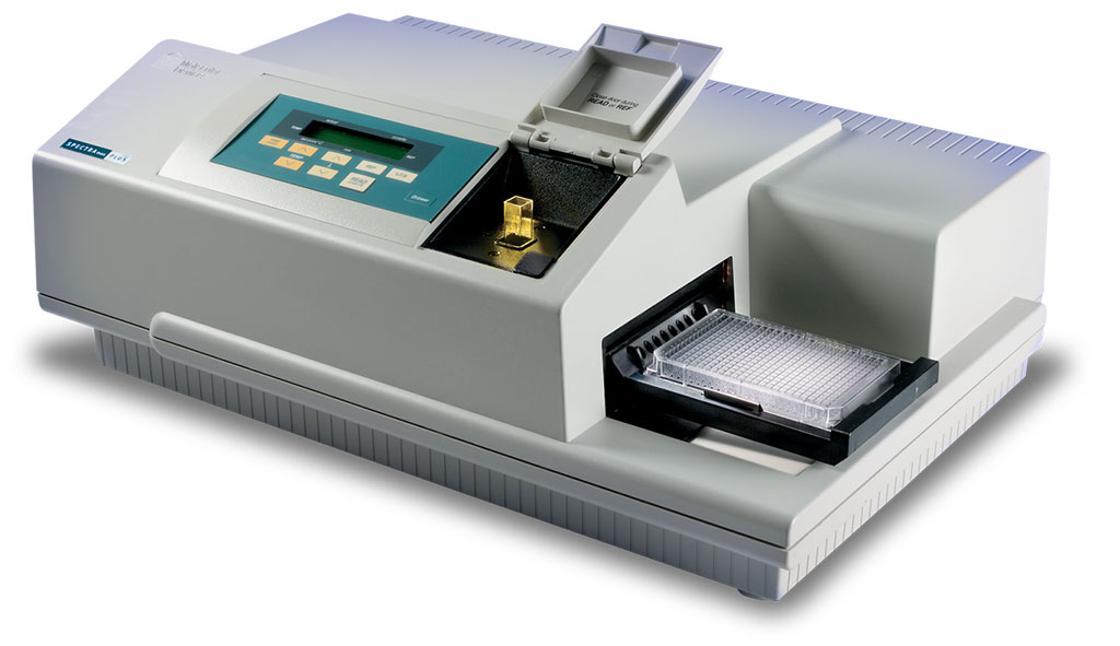 The SpectraMax Plus 384 Microplate Reader can run both standard spectrophotometer and microplate reader applications on the same instrument (Photo courtesy of Molecular Devices)