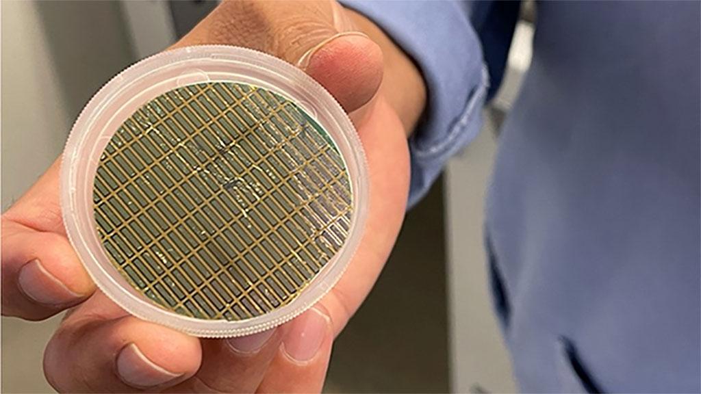 Image: Fabricated cantilever chip array (Photo courtesy of Northwestern University)