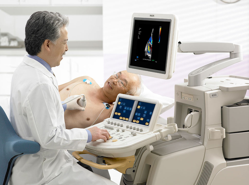 Image: A transthoracic echocardiogram being performed in a patient (Photo courtesy of Specialist Cardiology).