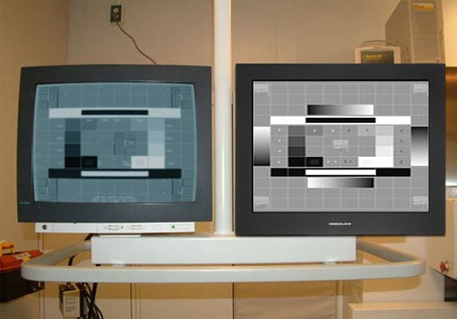 Image: A Siemens vascular room with an old CRT and a new Modalixx LCD side by side (Photo courtesy of Ampronix).