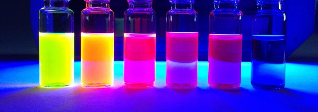 Image: Rhodamine dyes fluorescing under ultraviolet illumination (Photo courtesy of Jonathan Grimm/ HHMI).