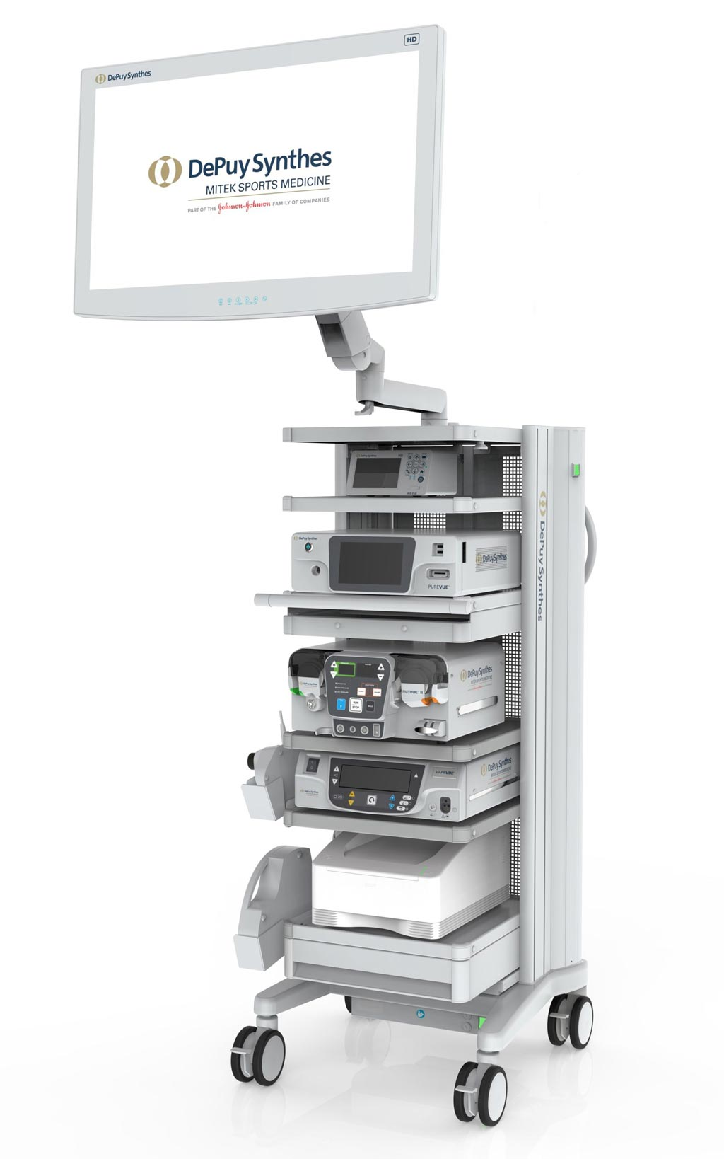 Image: The PUREVUE Visualization System component tower cart (Photo courtesy of DePuy Synthes).