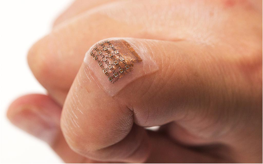 Image: A wearable ultrasound patch tracks blood pressure (Photo courtesy of Chonghe Wang/UCSD).