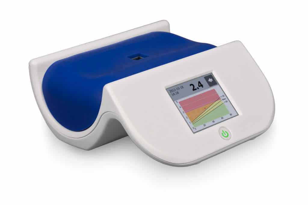 Image: The AGE reader used in the study (Photo courtesy of Diagnoptics Technologies).