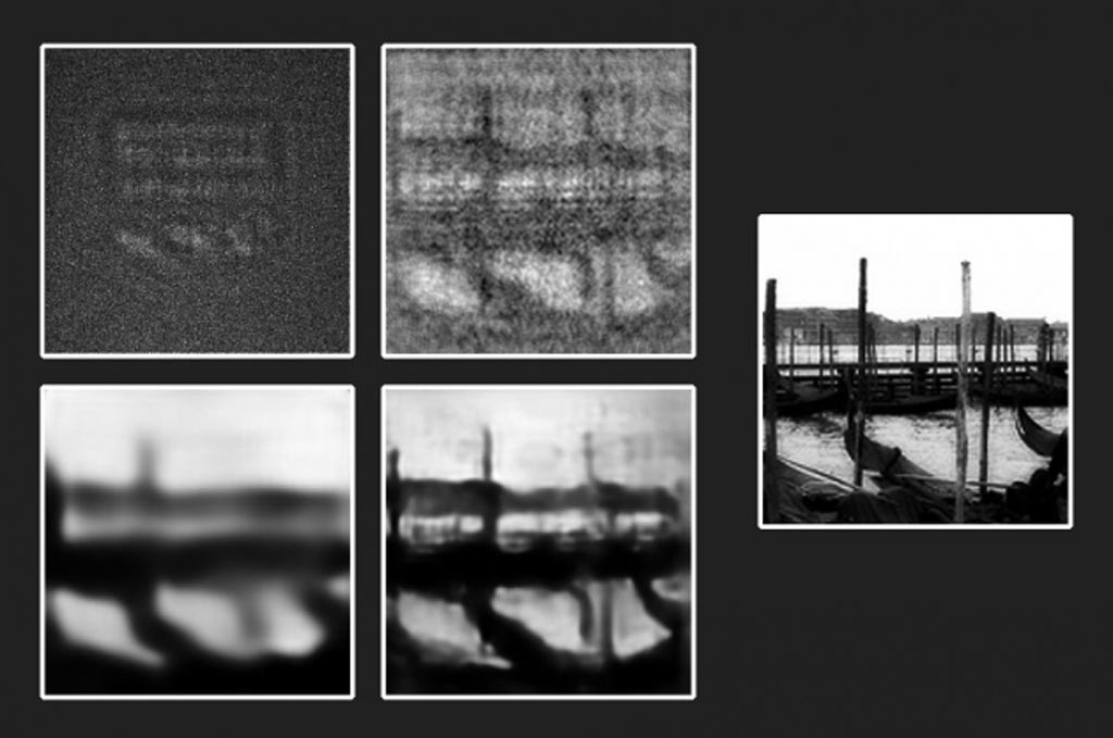 Image: From an original transparent etching (far right), engineers produced a photograph in the dark (top left), then attempted to reconstruct the object using first a physics-based algorithm (top right), then a trained neural network (bottom left), before combining both the neural network with the physics-based algorithm to produce the clearest, most accurate reproduction (bottom right) of the original object (Photo courtesy of MIT).