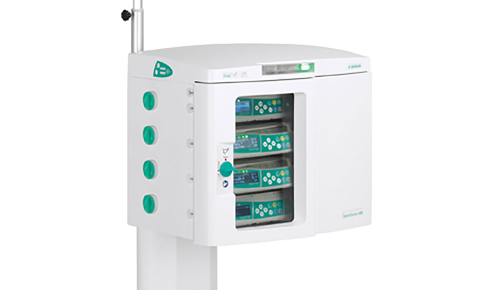 Image: The SpaceStation MRI infusion pump shielding device (Photo courtesy of B. Braun)