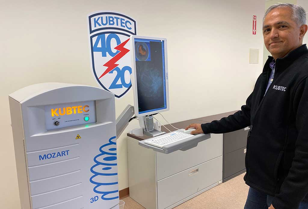 Image: Vikram Butani and the Mozart 3D specimen tomography system (Photo courtesy of Kubtec)