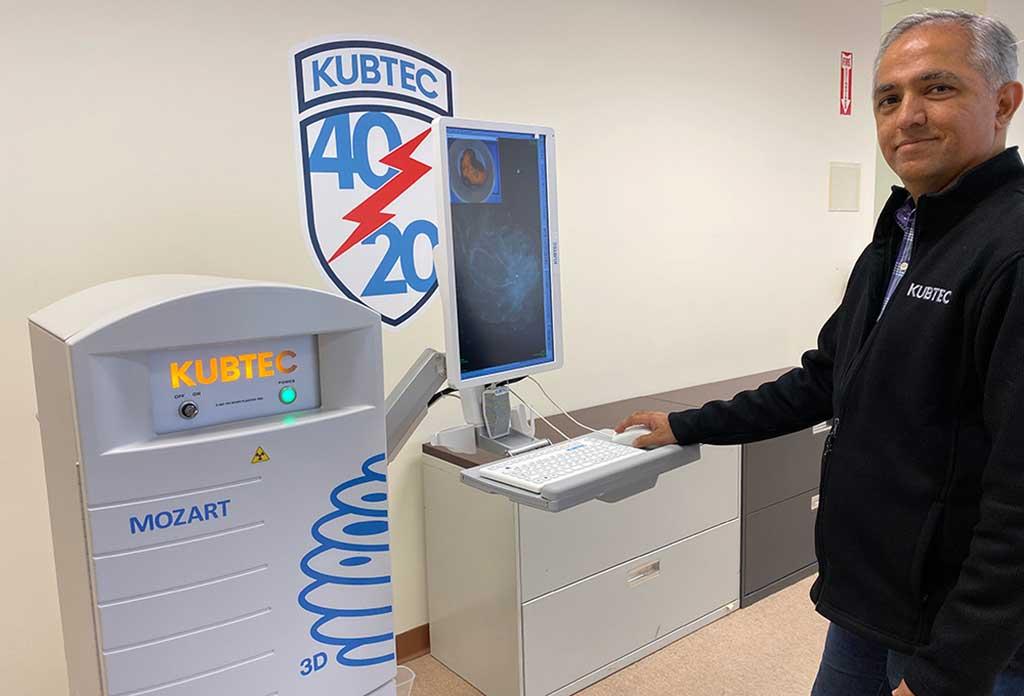 Image: Vikram Butani and the Mozart 3D specimen tomography system (Photo courtesy of Kubtec)
