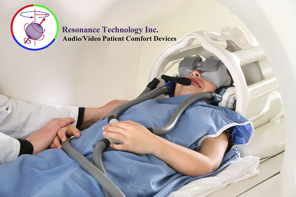 Image: The CinemaVision MRI-compatible noise cancelling headphones and video visor (Photo courtesy of Resonance Technology)