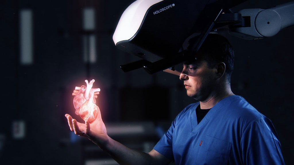 Image: The HOLOSCOPE-I over-the-head holographic system (Photo courtesy of RealView Imaging)