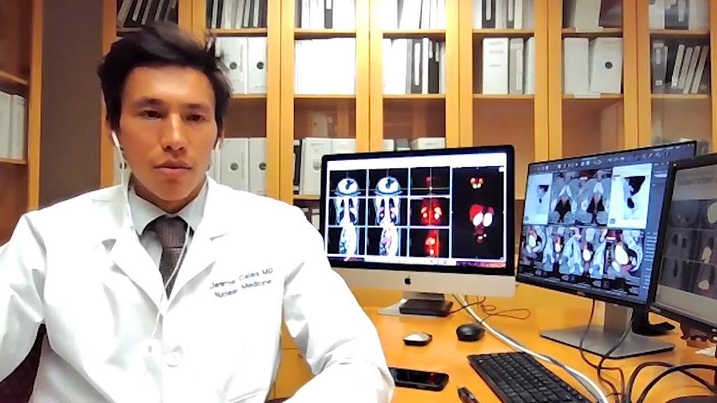 Image: Dr. Jeremie Calais at the 68Ga-PSMA-11 PSMA PET workstation (Photo courtesy of UCLA)