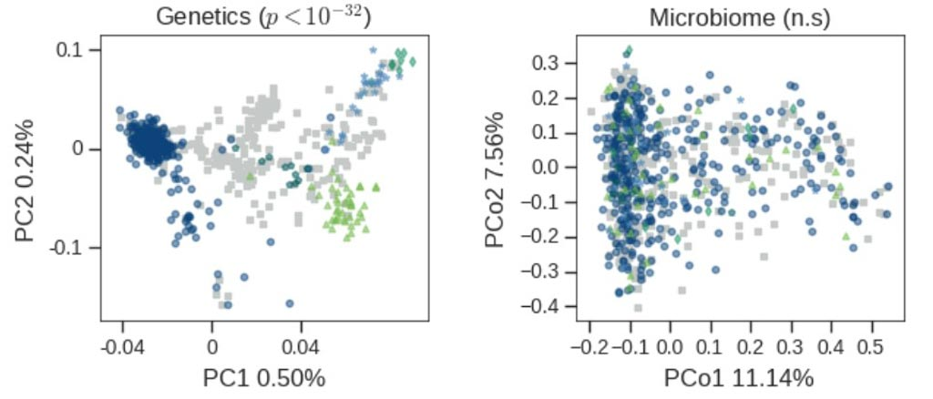Image: Left: Genetic differences are easily seen across individuals of different ancestries. Each point represents a person colored by his ancestry, and the graph is a reduction of the complex genetics vector of each person into two dimensions. Right: No differences are seen in the microbiome of individuals of different ancestries. Same as left, but the plot is of the microbiome reduced to two dimensions. Coloring is by ancestries and no separation can be seen (Photo courtesy of the Weizmann Institute of Science).