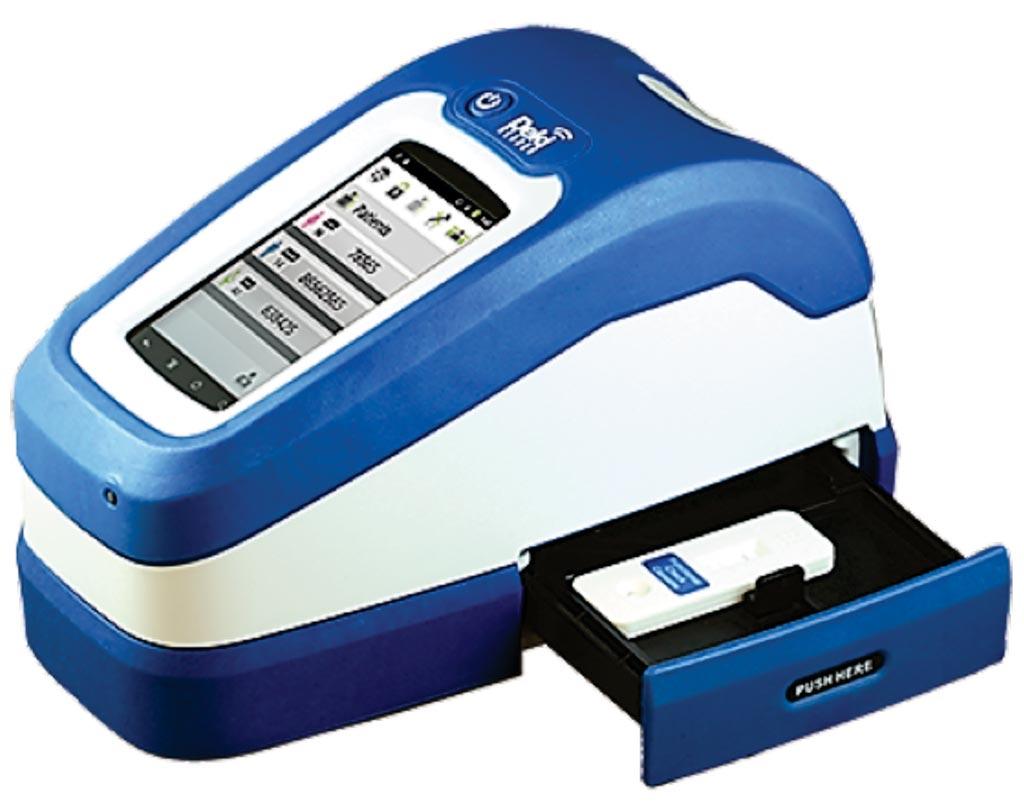图片:Deki读片仪是一台结实的体外诊断设备,与通称为快速诊断检验的市售侧流免疫测定配套使用(图片蒙Fio公司惠赐)。