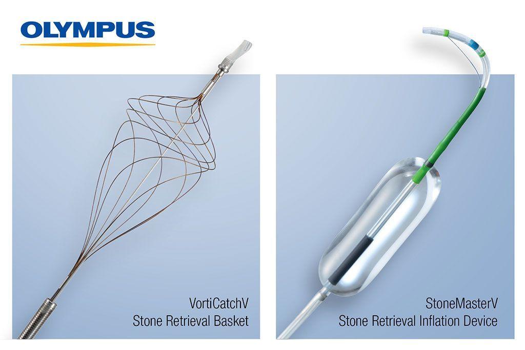 Imagen: Los dispositivos para CPRE StoneMasterV y VorticCatchV (Fotografía cortesía de Olympus)