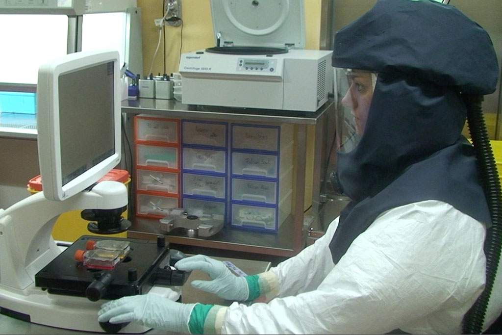 Imagen: Un investigador trabaja en el laboratorio de alta seguridad del Instituto de Virología e Inmunología (Fotografía cortesía del IVI)
