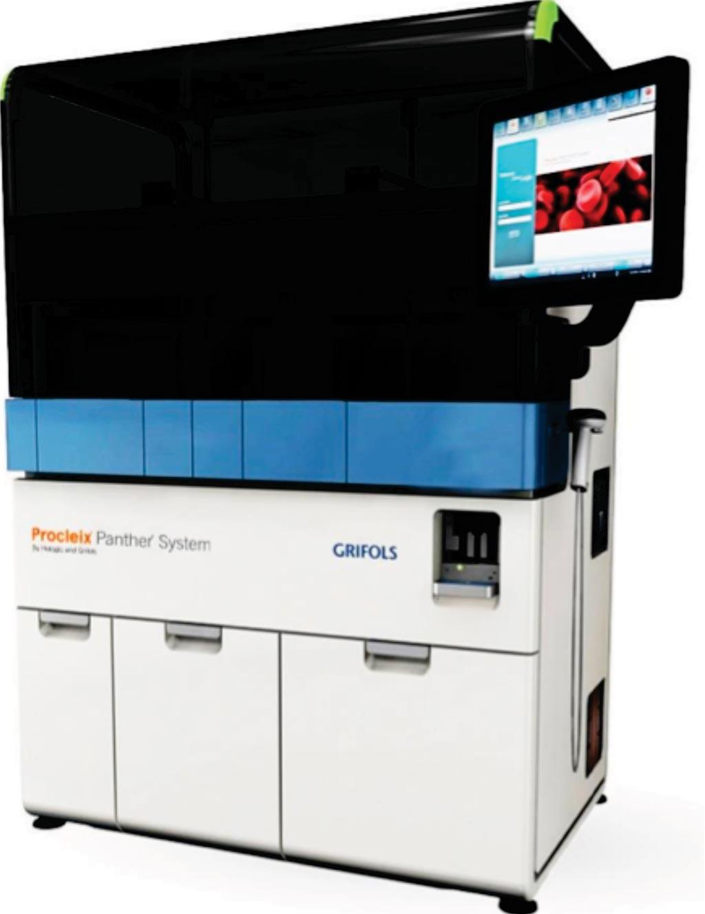 Imagen: El sistema Procleix Panther, un sistema de tecnología de ácidos nucleicos completamente integrado y automatizado para el cribado de sangre y plasma (Fotografía cortesía de Grifols Diagnostics).