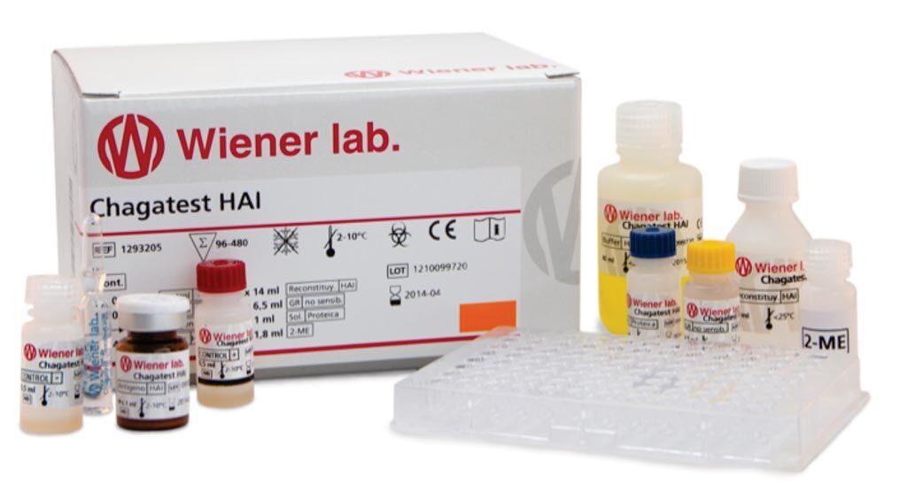 Imagen: Prueba de hemaglutinación indirecta para la detección de anticuerpos contra Trypanosoma cruzi (Fotografía cortesía de Wiener lab. Group).