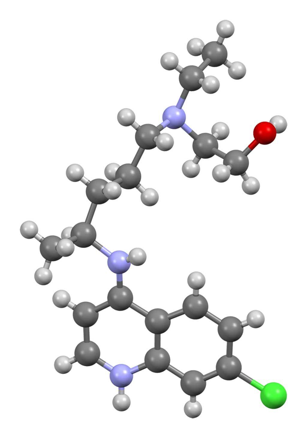 Imagen: Modelo tridimensional de una molécula de hidroxicloroquina (Fotografía cortesía de Wikimedia Commons)