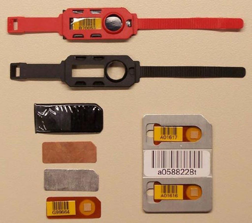 Imagen: Ejemplos de dosímetros de extremidades Thermo Fisher (Fotografía cortesía de Thermo Fisher Scientific).