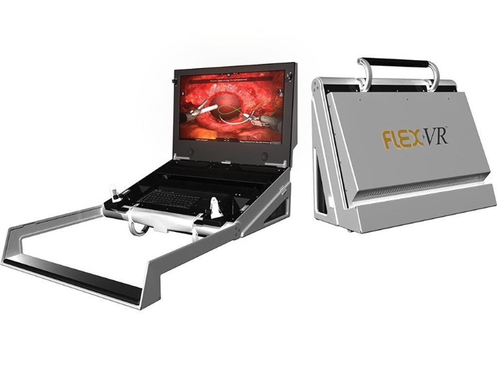 Image: The FlexVR portable robotic surgery simulator (Photo courtesy of Mimic Technologies).