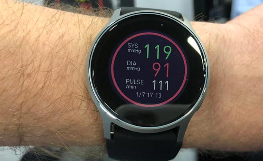 Image: A new wristwatch accurately measures blood pressure and pulse (Photo courtesy of Omron).