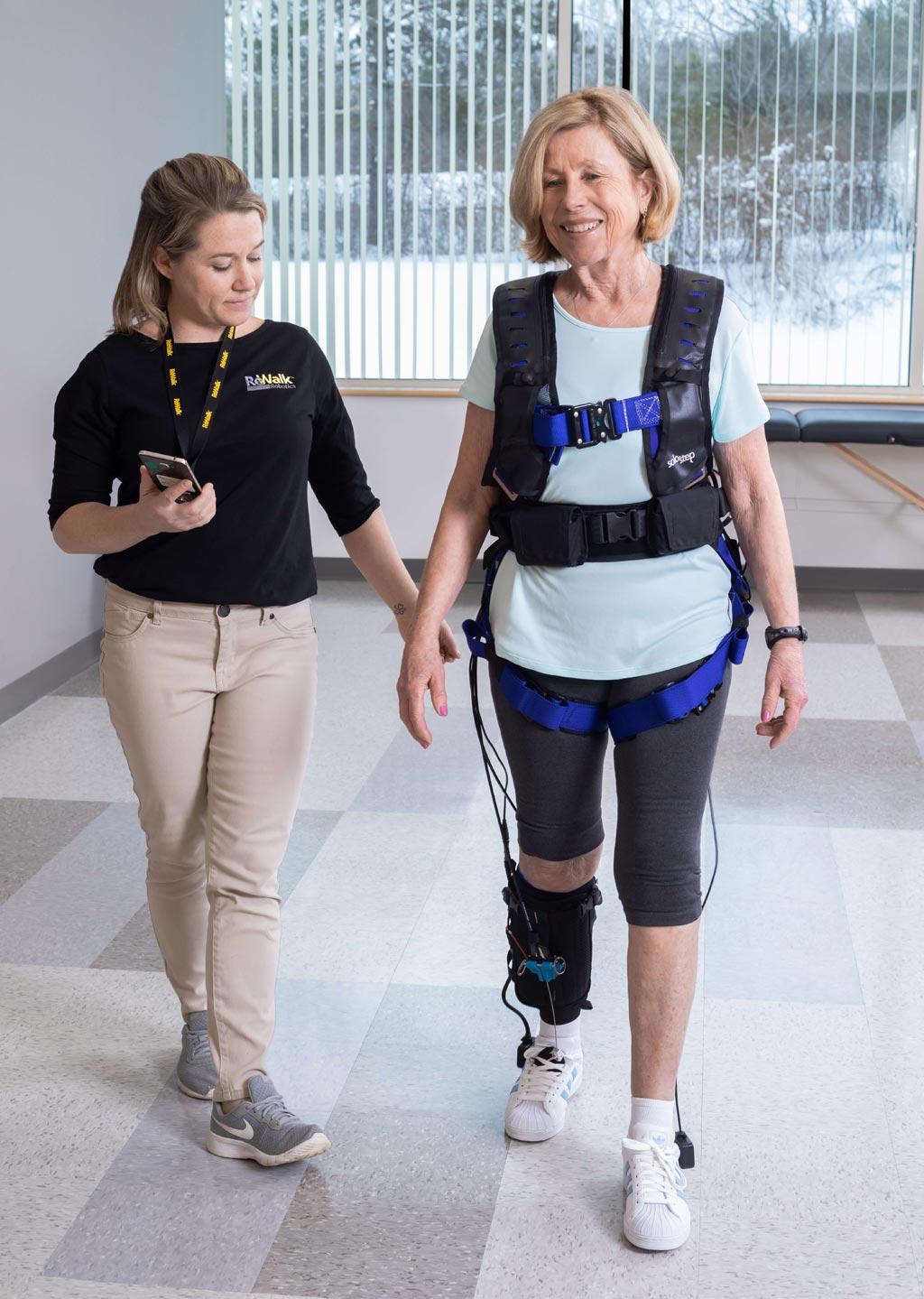 Image: A gait training device helps stroke survivor's rehabilitation (Photo courtesy of ReWalk).