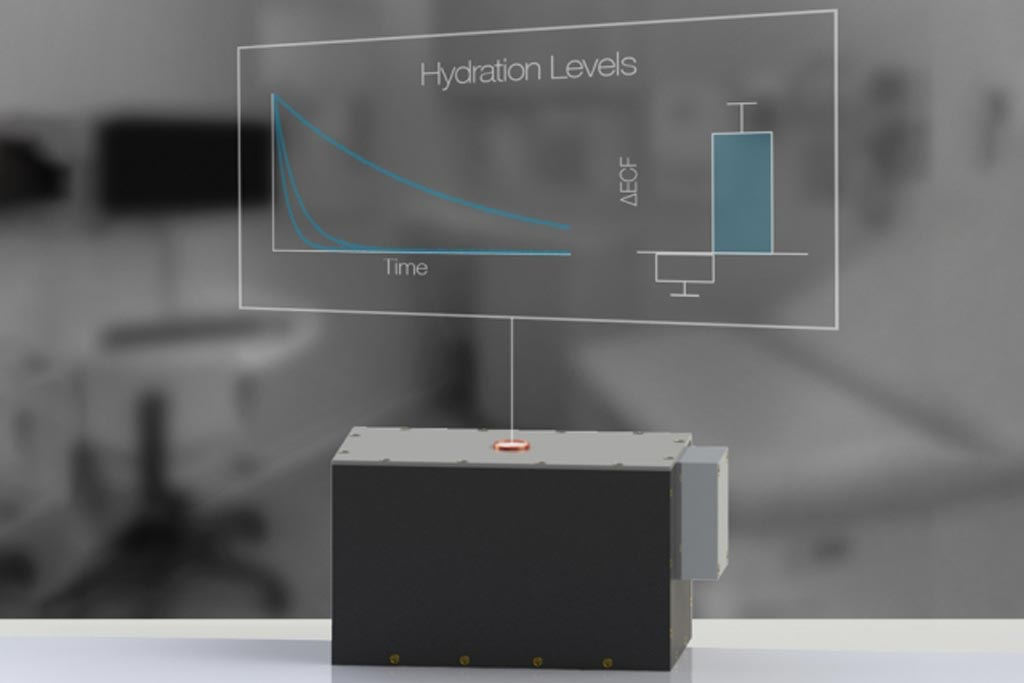 Image: A noninvasive hydration sensor based on the same technology as MRI can fit in a doctor's office (Photo courtesy of Lina Colucci/ MIT).