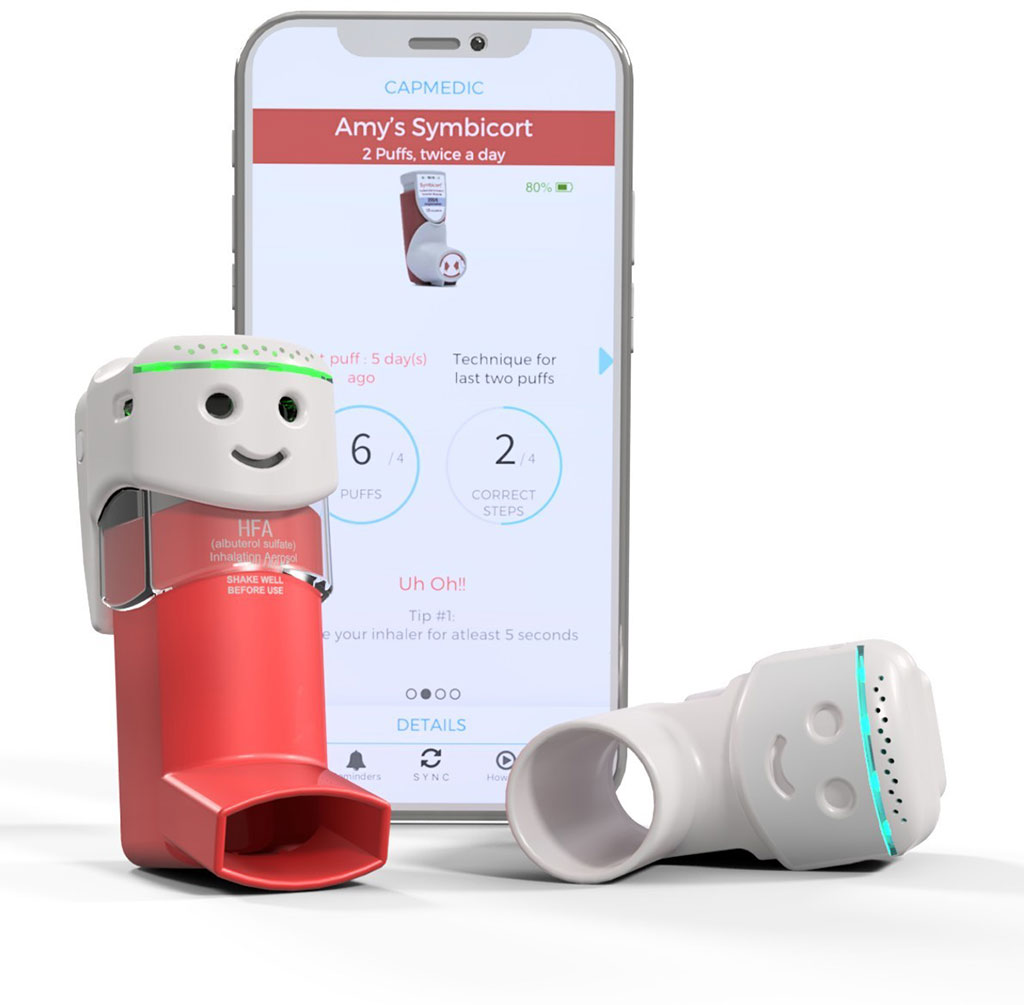 Image: The CapMedic inhaler cap and smartphone app (Photo courtesy of Cognita Labs)
