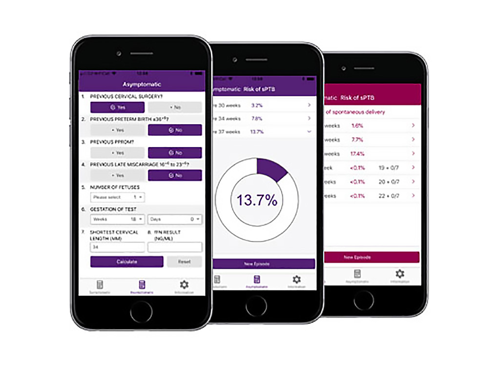 Image: The QUiPP v2 app can calculate pre-term birth risk (Photo courtesy of GeneticApps)