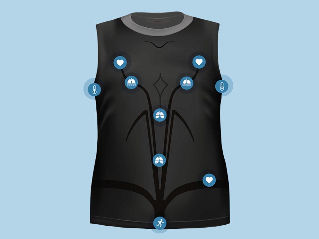 Image: The KeeSense remote platform monitoring T-shirt (Photo courtesy of Chronolife)