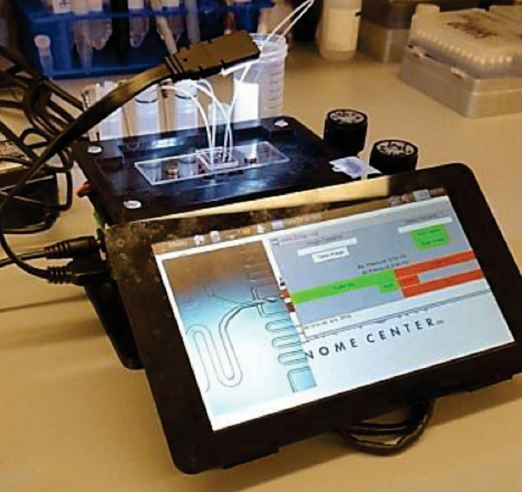 Image: The microfluidic control instrument performing a Drop-seq run (Photo courtesy of the New York Genome Center).