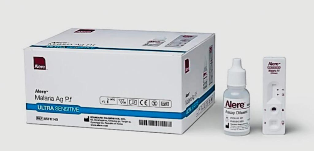 Image: The Malaria Ag P.f test is 10 times more sensitive than current malaria rapid diagnostic tests for the detection of Plasmodium falciparum HRP-II antigen (Photo courtesy of Alere).