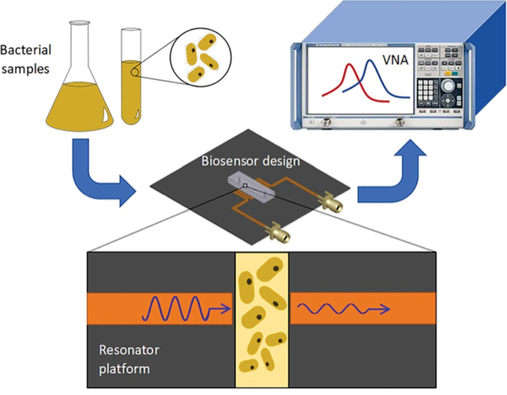 Image: Conceptual representation for the detection of bacteria concentration and proliferation. The electrical signal of the resonator is analyzed through a vector network analyzer (VNA) to gather resonant profile for bacteria in different concentrations and environmental pH, and for long-term screening of their growth (Photo courtesy of the University of British Columbia).