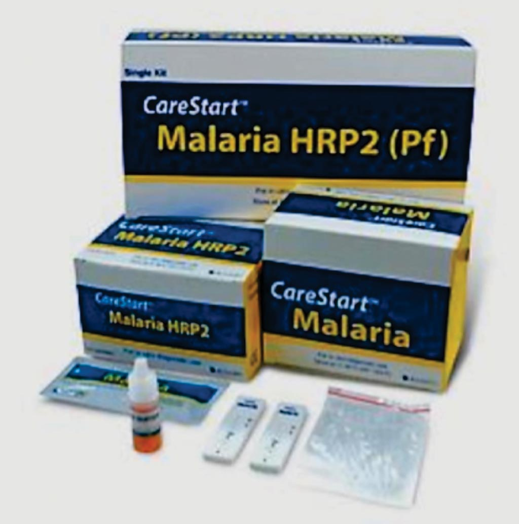 Image: The CareStart HRP2 rapid diagnostic test for Plasmodium falciparum malaria (Photo courtesy of Access Bio).