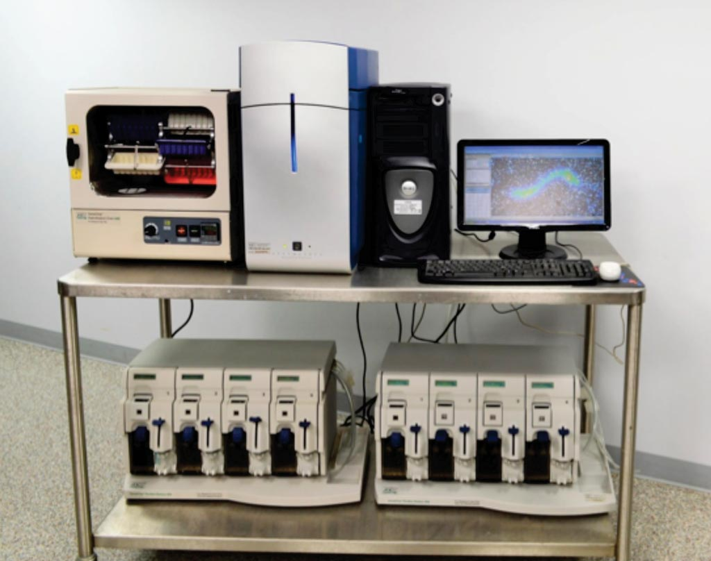 Image: The Affymetrix Genechip 3000 microarray scanner and autoloader fluidics station 450 (Photo courtesy of New-life Scientific).