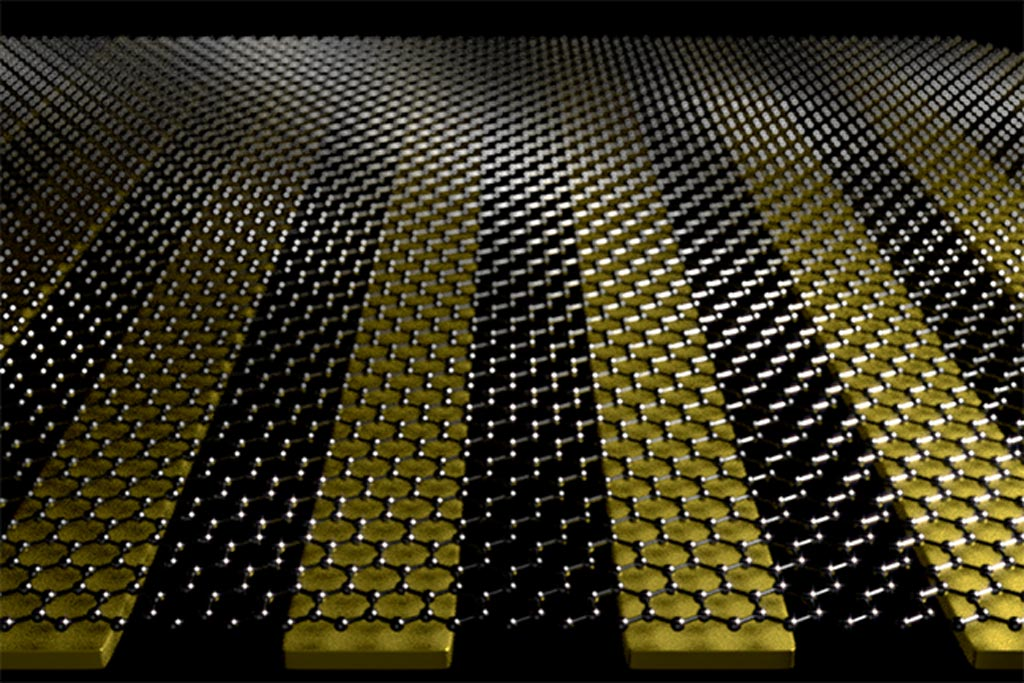 Image: Researchers combined graphene with nano-sized metal ribbons of gold to create an ultrasensitive biosensor that could help detect a variety of diseases in humans and animals (Photo courtesy of Oh Group, University of Minnesota).