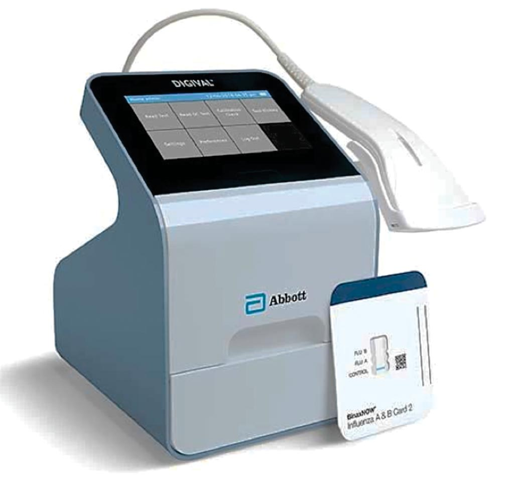 Image: The BinaxNOW Influenza A & B Card 2 and Digival reader (Photo courtesy of Abbott).
