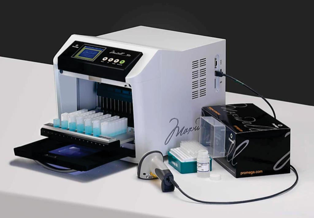 Image: The Maxwell 16 instrument used for genomic DNA isolation (Photo courtesy of Promega).