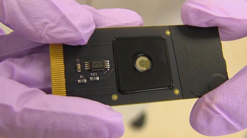Image: A close-up of the CRISPR-Chip device (Photo courtesy of Keck Graduate Institute).