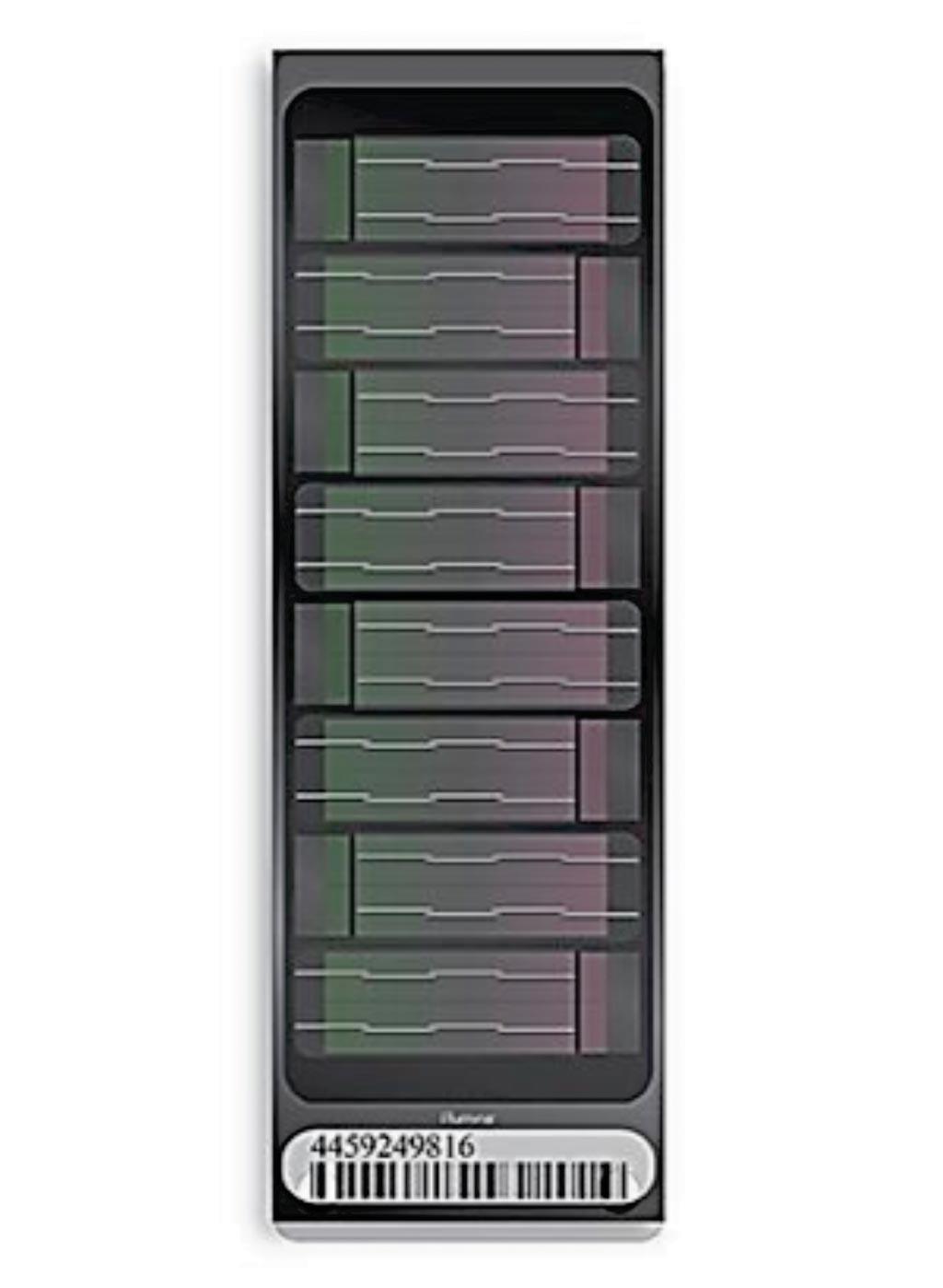 Image: The high-density Human Omni 2.5-8 SNP array (Photo courtesy of Illumina).